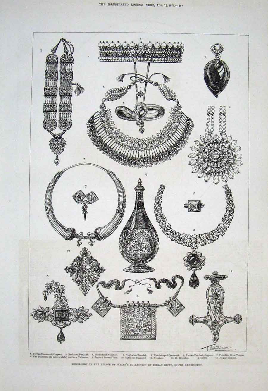 Print Indian Jewellery Prince Wales Gifts 1876 57Aaa1 Old Original