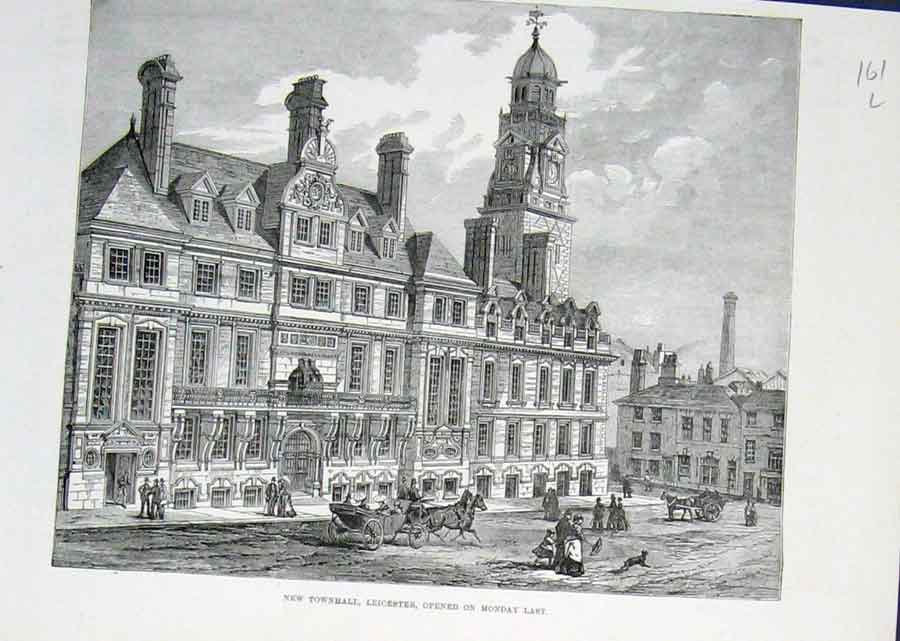 Print New Town Hall Leicester 1876 61Laaa1 Old Original