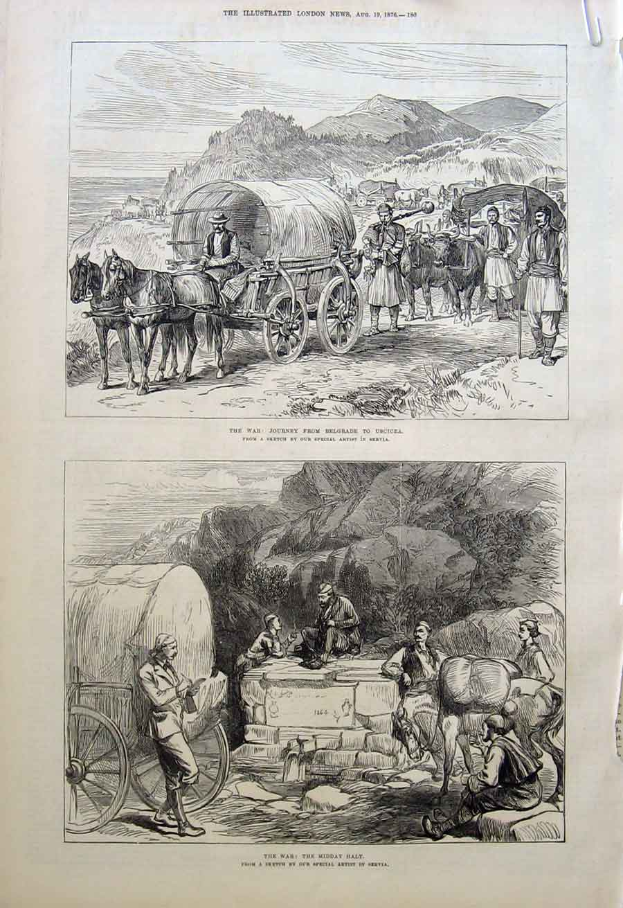 Print Servia Arms On Road From Belgrade To Hq 1876 80Aaaa1 Old Original