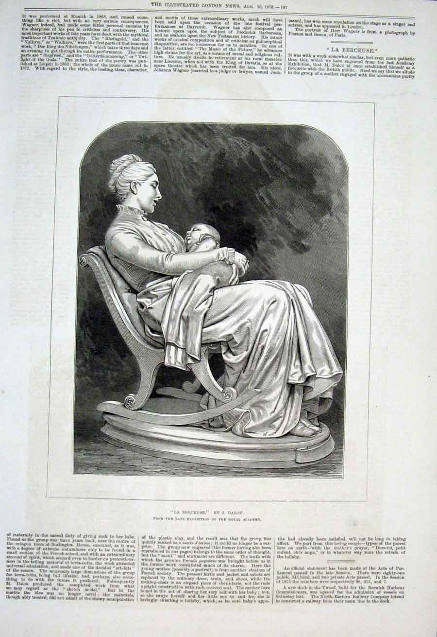 Print Le Berceuse By Dalou 1876 Mother & Child 97Aaa1 Old Original