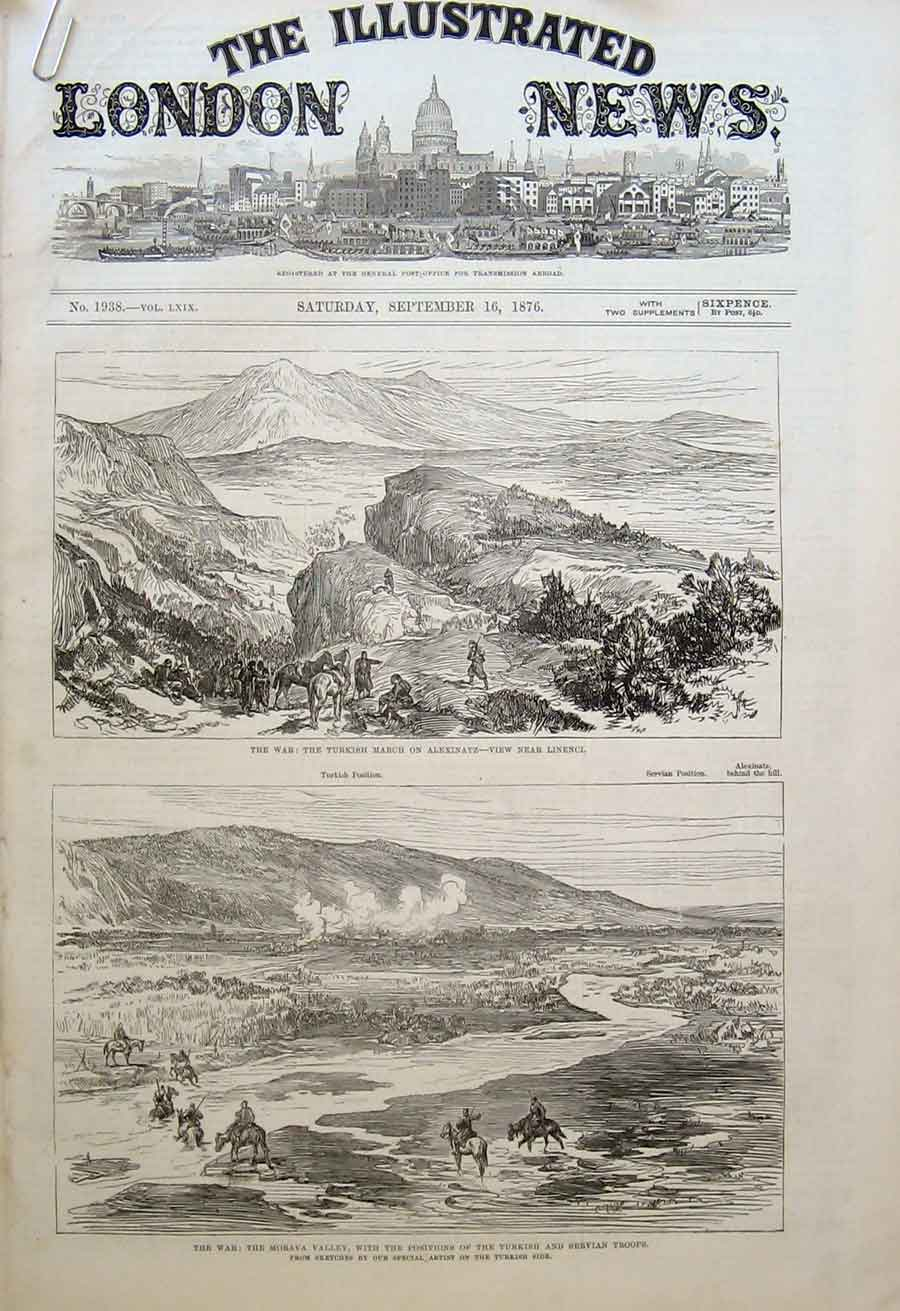 Print Positions Servian & Turkish Troops Morava Valley 1876 64Aaaa1 Old Original