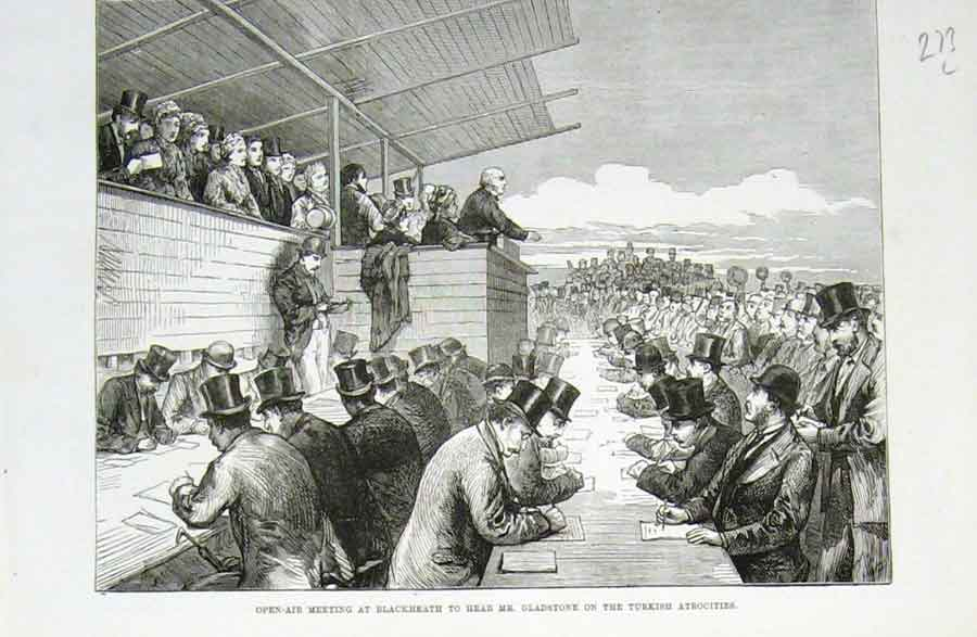Print Gladstone Speaks On Turkey Blackheath 1876 73Laaa1 Old Original