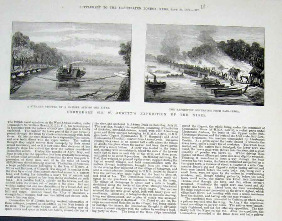 Print Hewitt'S Expedition Up The Niger 1876 Afr 97Uaaa1 Old Original