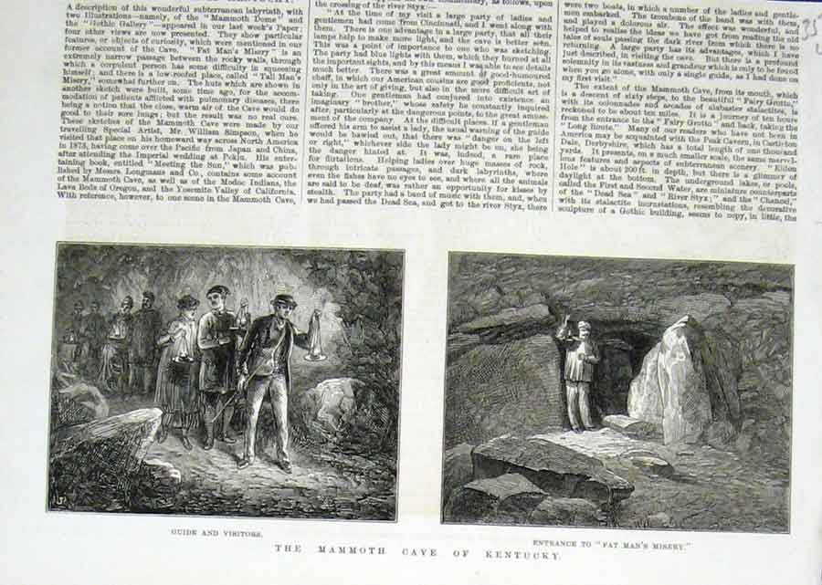 Print Fat Man'S Misery Mamouth Cave Kentucky America 1876 56Laaa1 Old Original