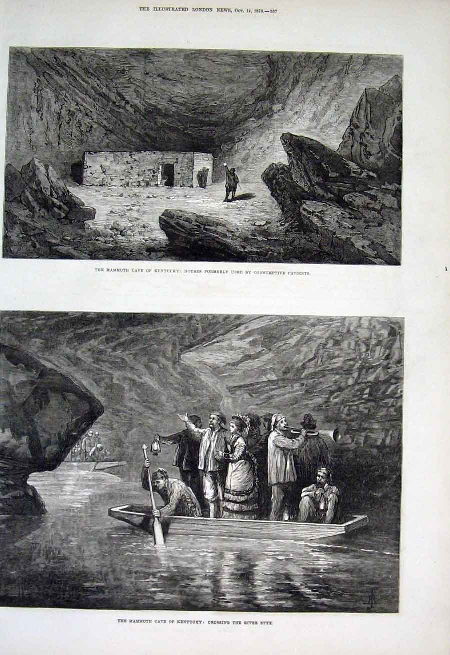 Print Crossing River Styx Mamouth Cave Kentucky 1876 57Aaa1 Old Original