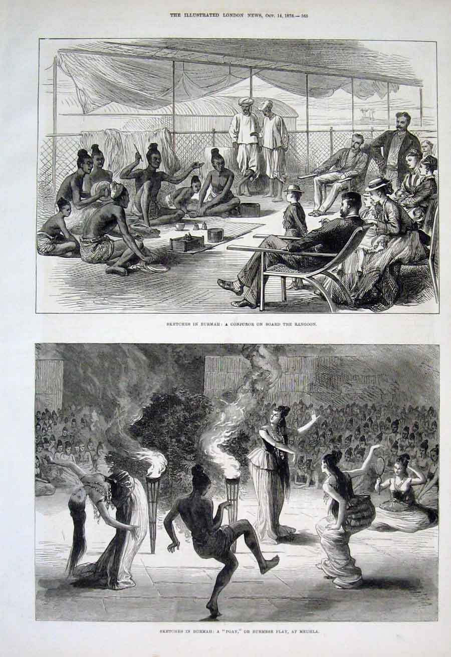 Print Cunjuror At Rangoon Poay Or Play Meuhla Burmah 1876 65Aaa1 Old Original