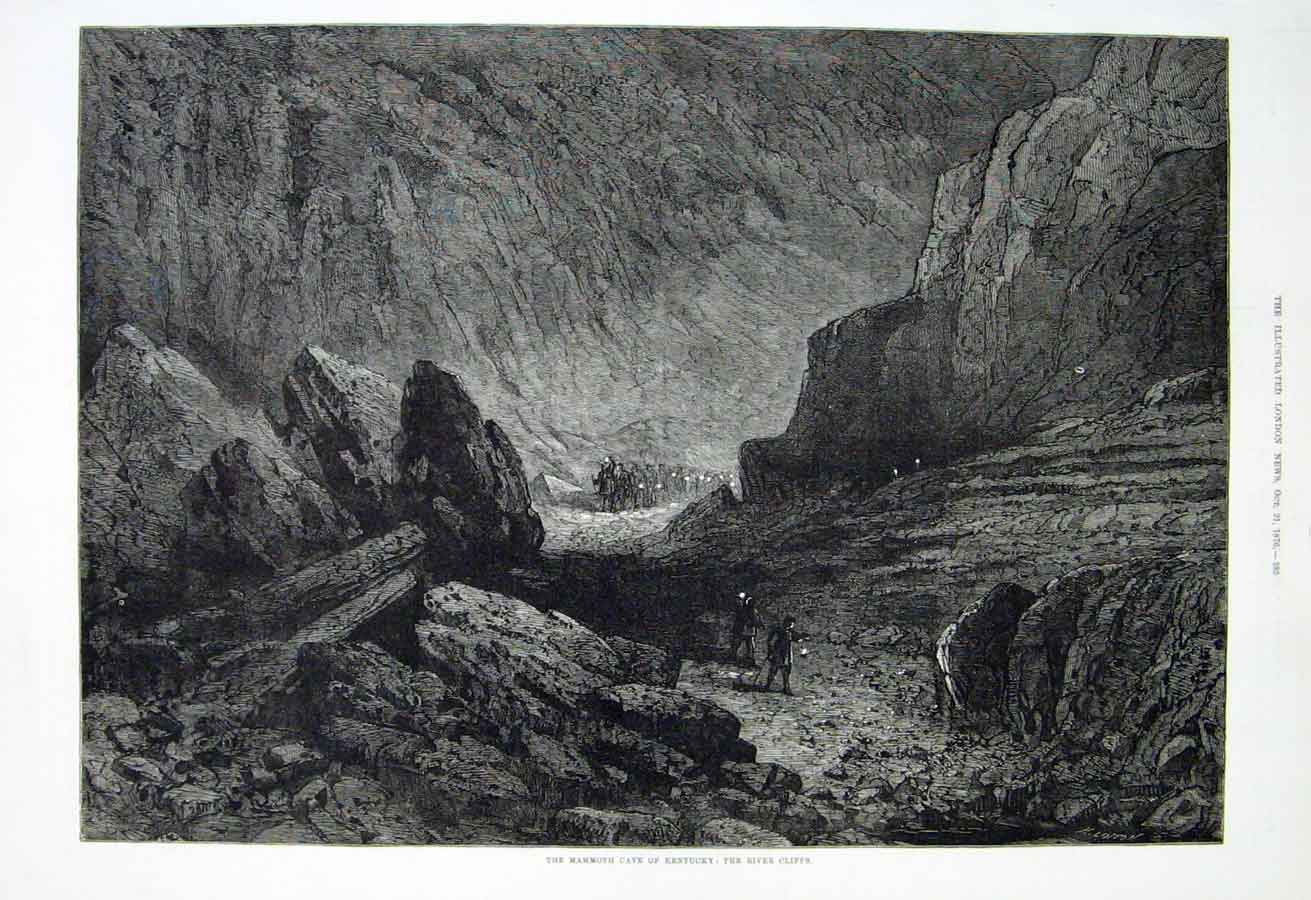 Print Mamouth Cave Kentucky: River Cliffs 1876 85Aaa1 Old Original