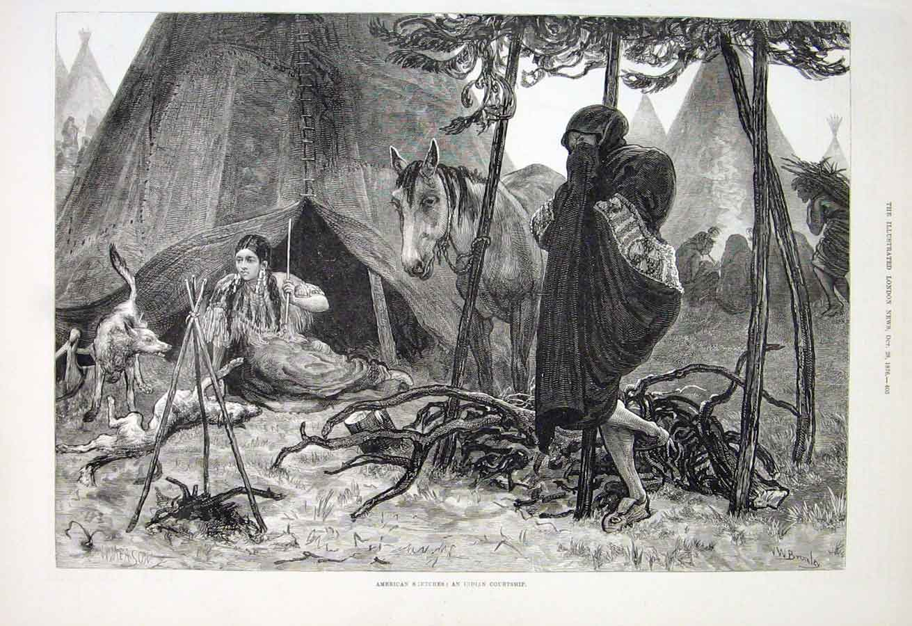 Print An American Indian Courtship 1876 05Aaa1 Old Original