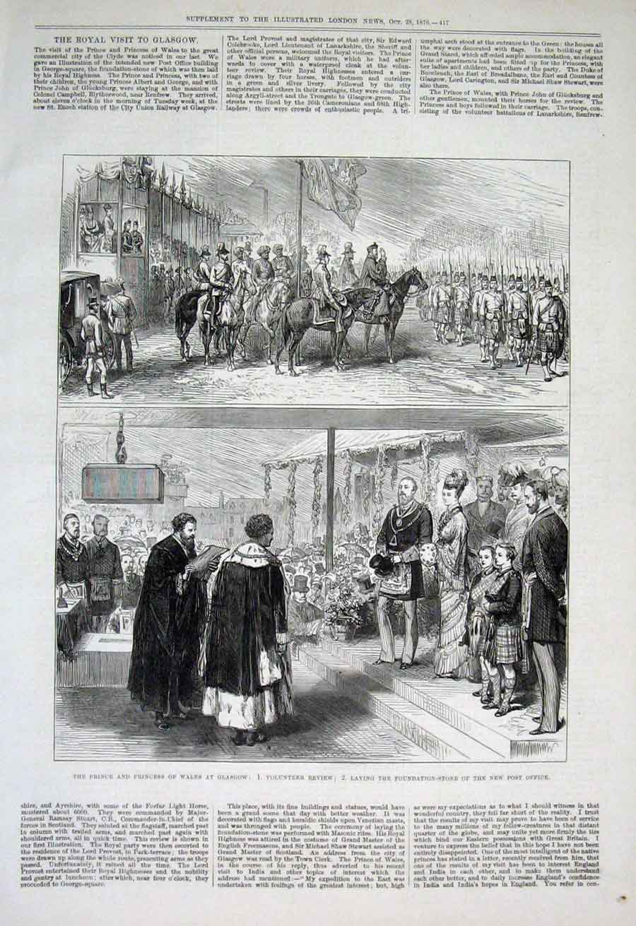 Print Prince Wales At Glasgow Laying Foundation Post Office 1 17Aaa1 Old Original