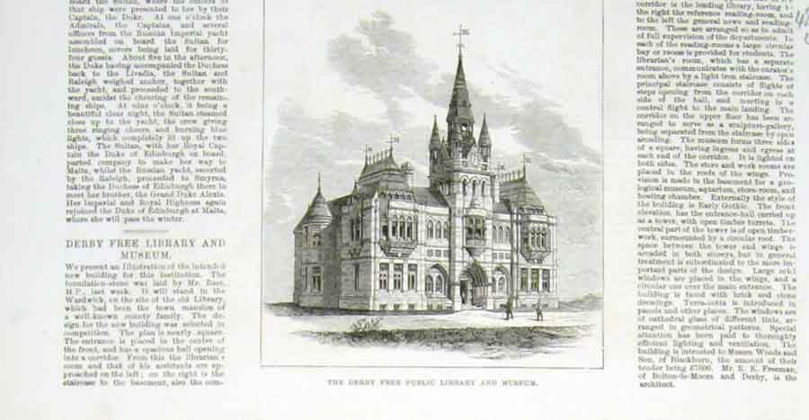 Print Derby Free Public Library & Museum 1876 28Laaa1 Old Original