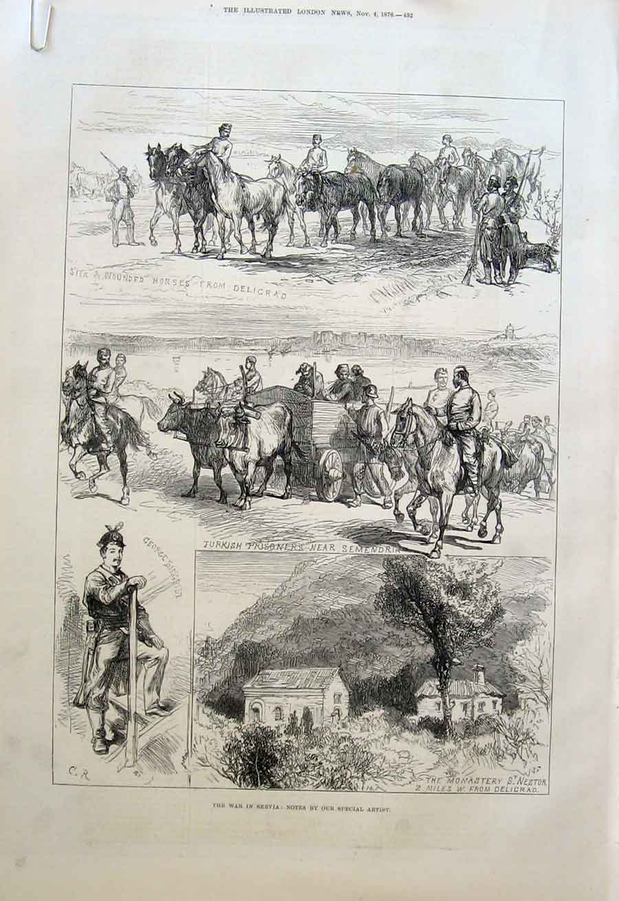 Print War Artist At Alexinate 1876 Servia 32Aaaa1 Old Original