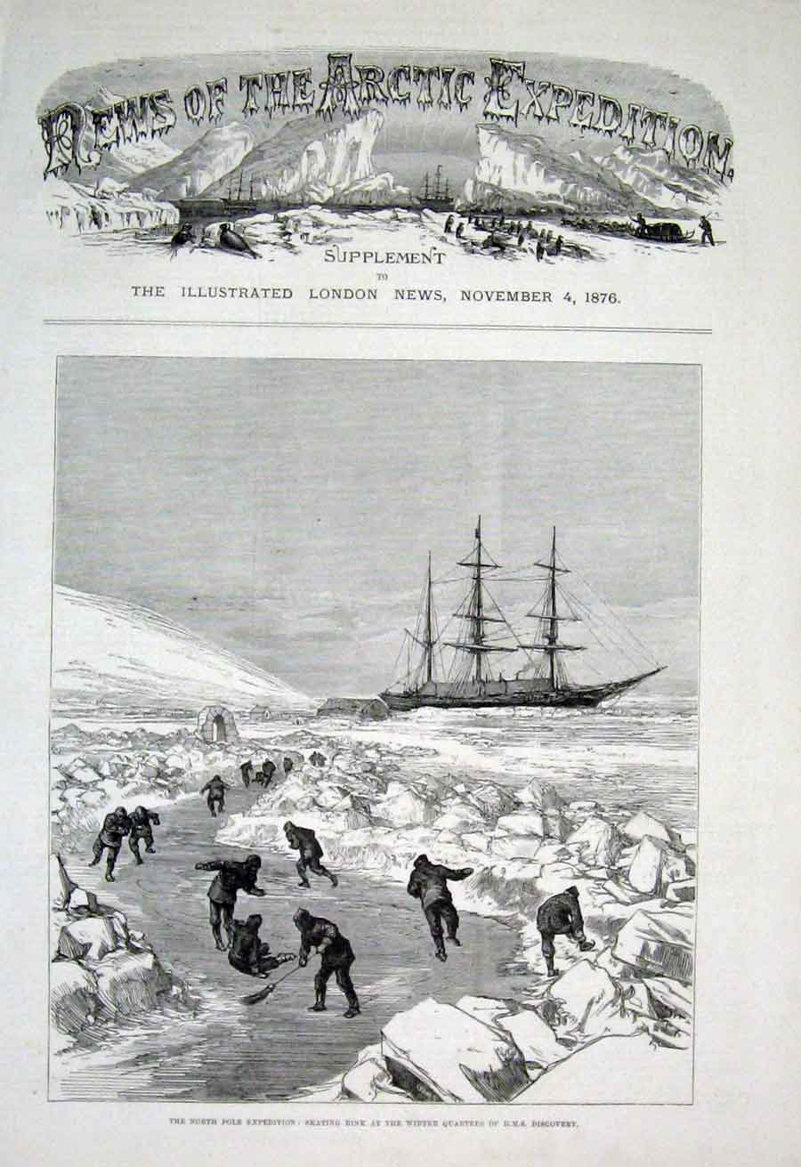 Print Skating Rink At Ship Discovery North Pole Exped 1876 42Aaa1 Old Original
