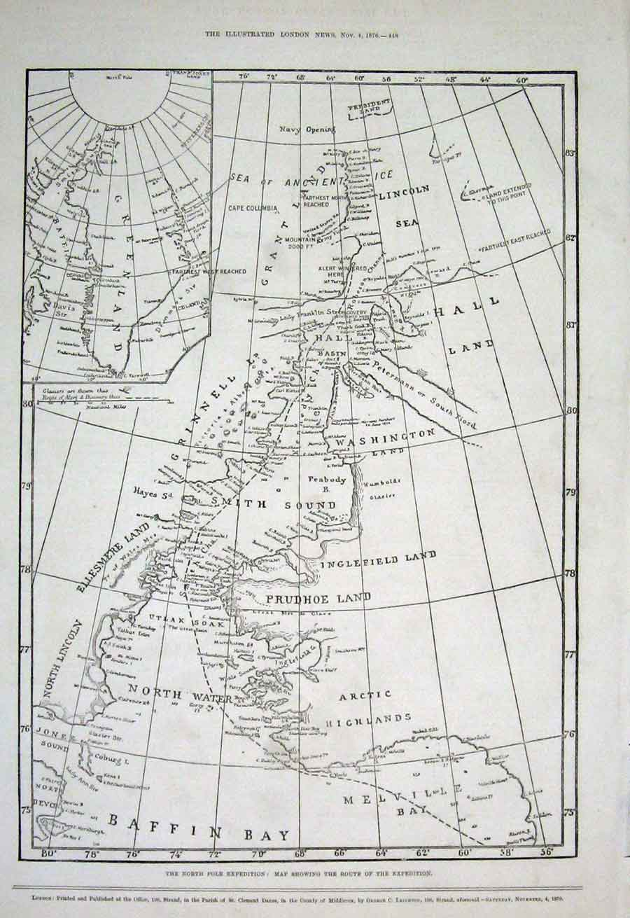Print Map North Pole Expedition 1876 48Aaa1 Old Original