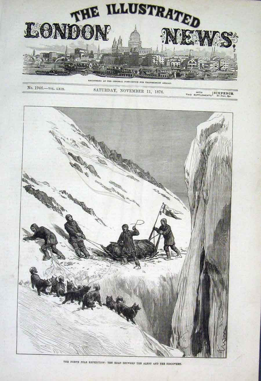 Print North Pole Exped Road Betwwen Ship Alert & Discovery 18 50Aaa1 Old Original