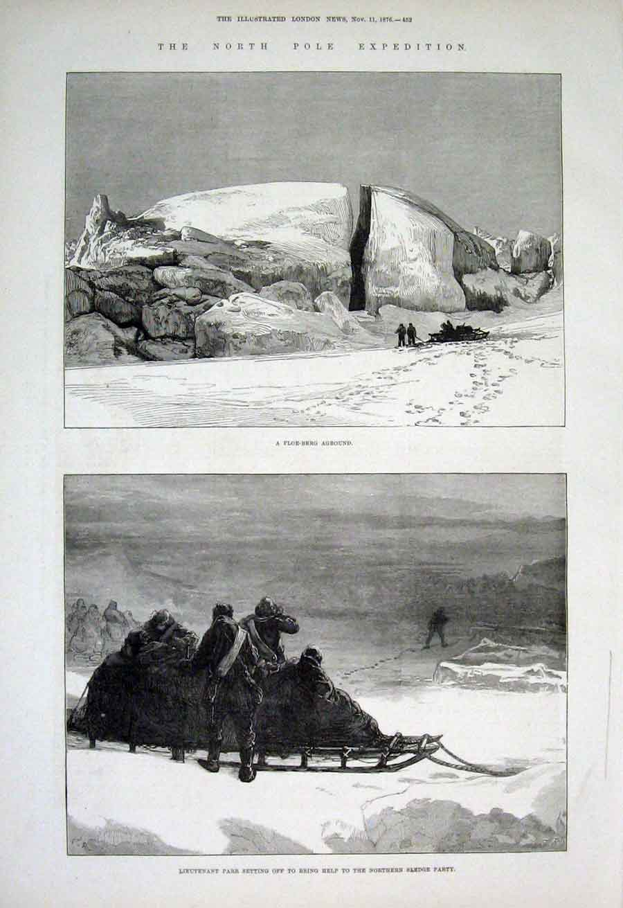 Print North Pole Exped A Floe Berg Aground & Sledge Party 187 52Aaa1 Old Original