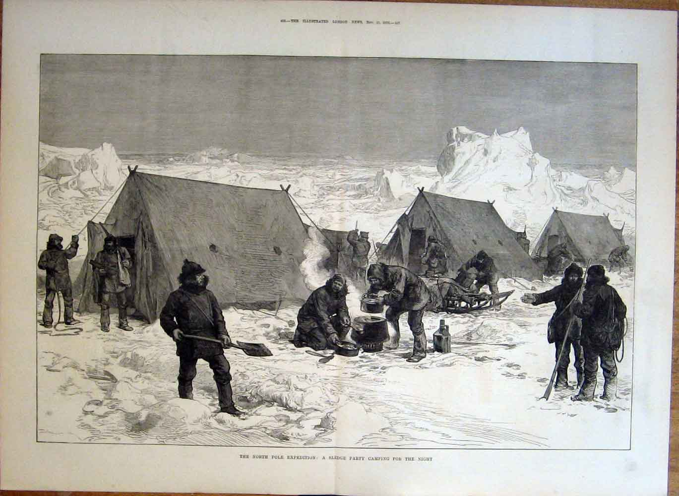 Print Sledge Party Night Camp North Pole Exped 1876 55Taaa1 Old Original