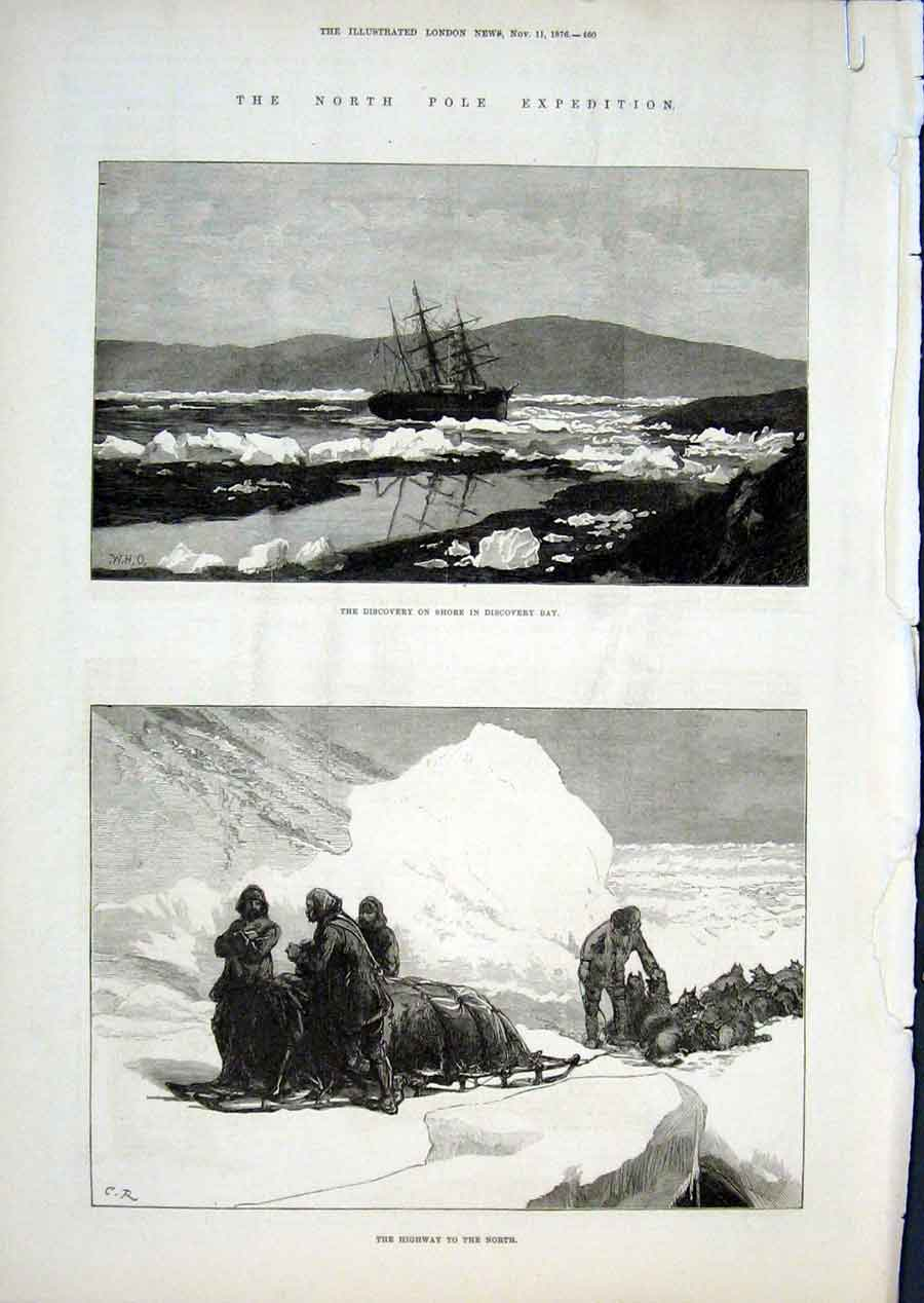 Print North Pole Exped Ship Alert & Funeral In Ice 1876 61Aaaa1 Old Original