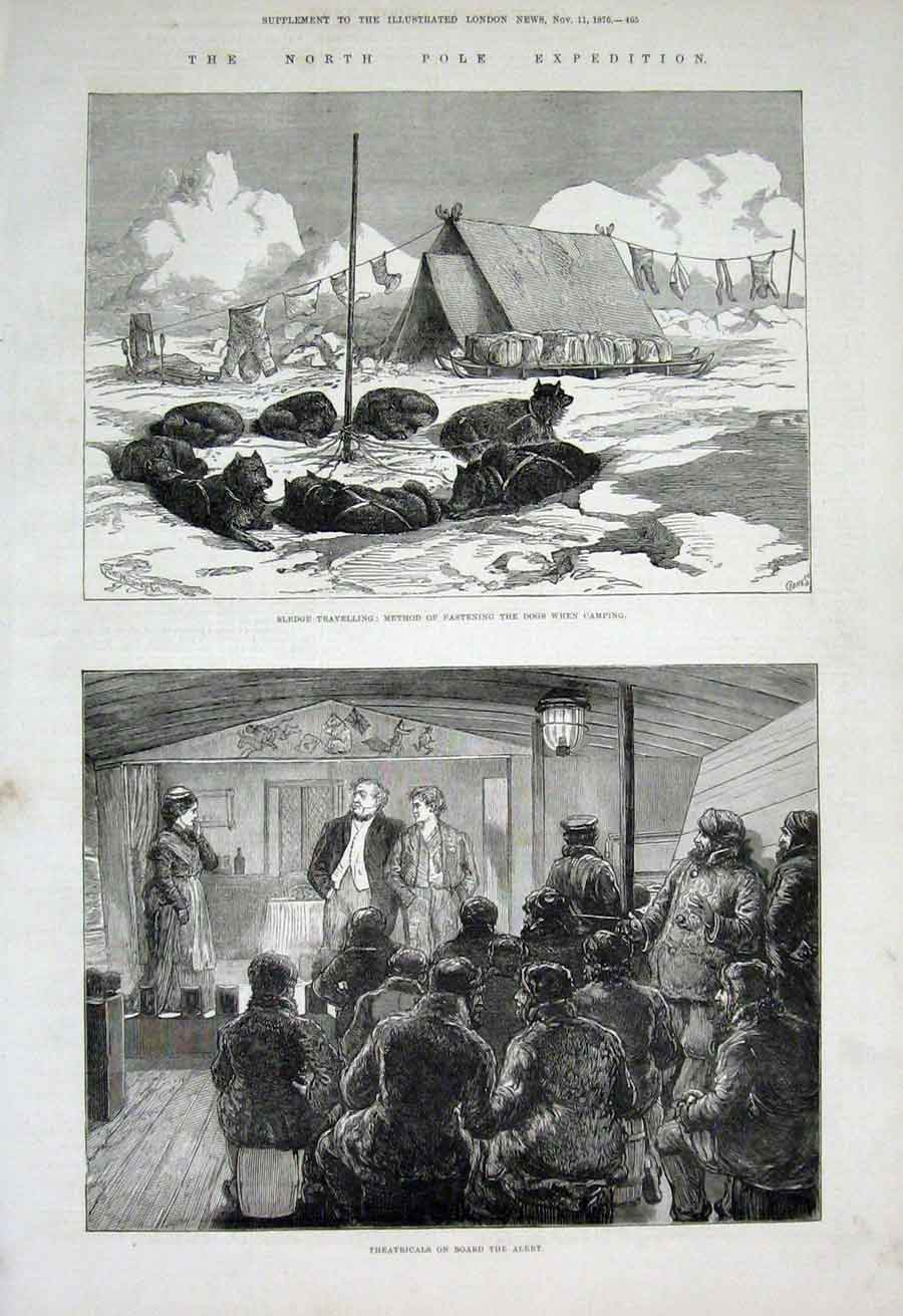 Print North Pole Exped Dogs At Camp 1876 65Aaa1 Old Original