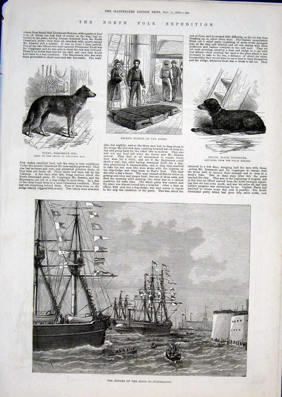 Print North Pole Expedition Discovery Bay & The Ships 1876 69Aaaa1 Old Original
