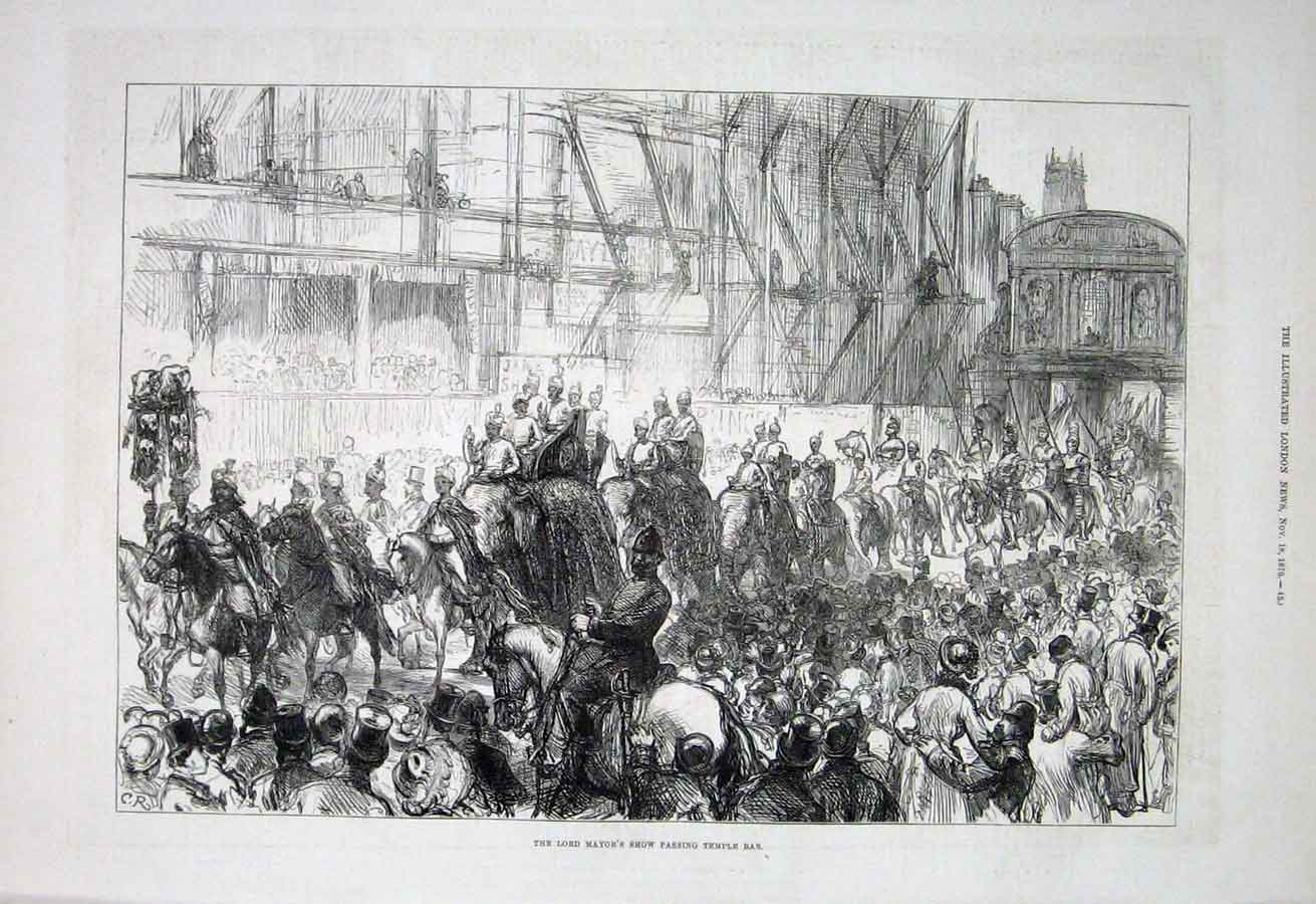 Print Lord Mayors Show Passing Temple Bar London 1876 80Aaa1 Old Original