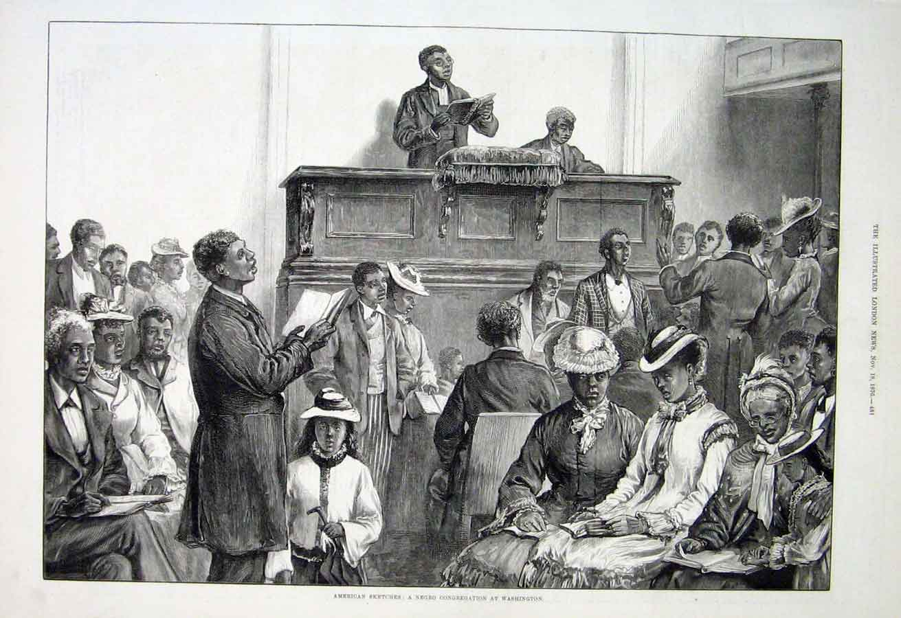 Print A Nego Congregation At Washington Church 1876 81Aaa1 Old Original