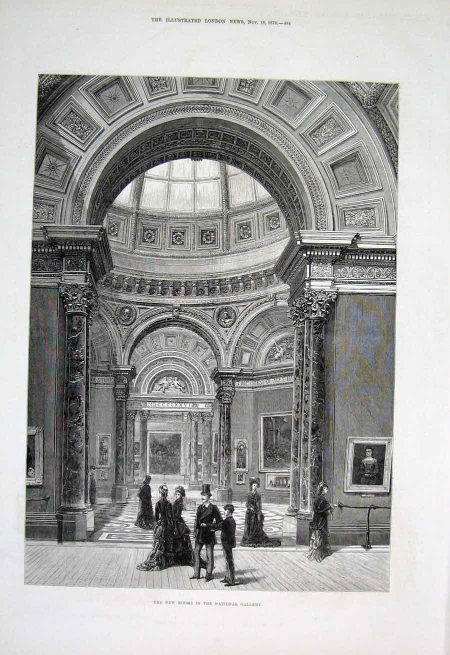 Print New Rooms National Gallery 1876 London 84Aaa1 Old Original