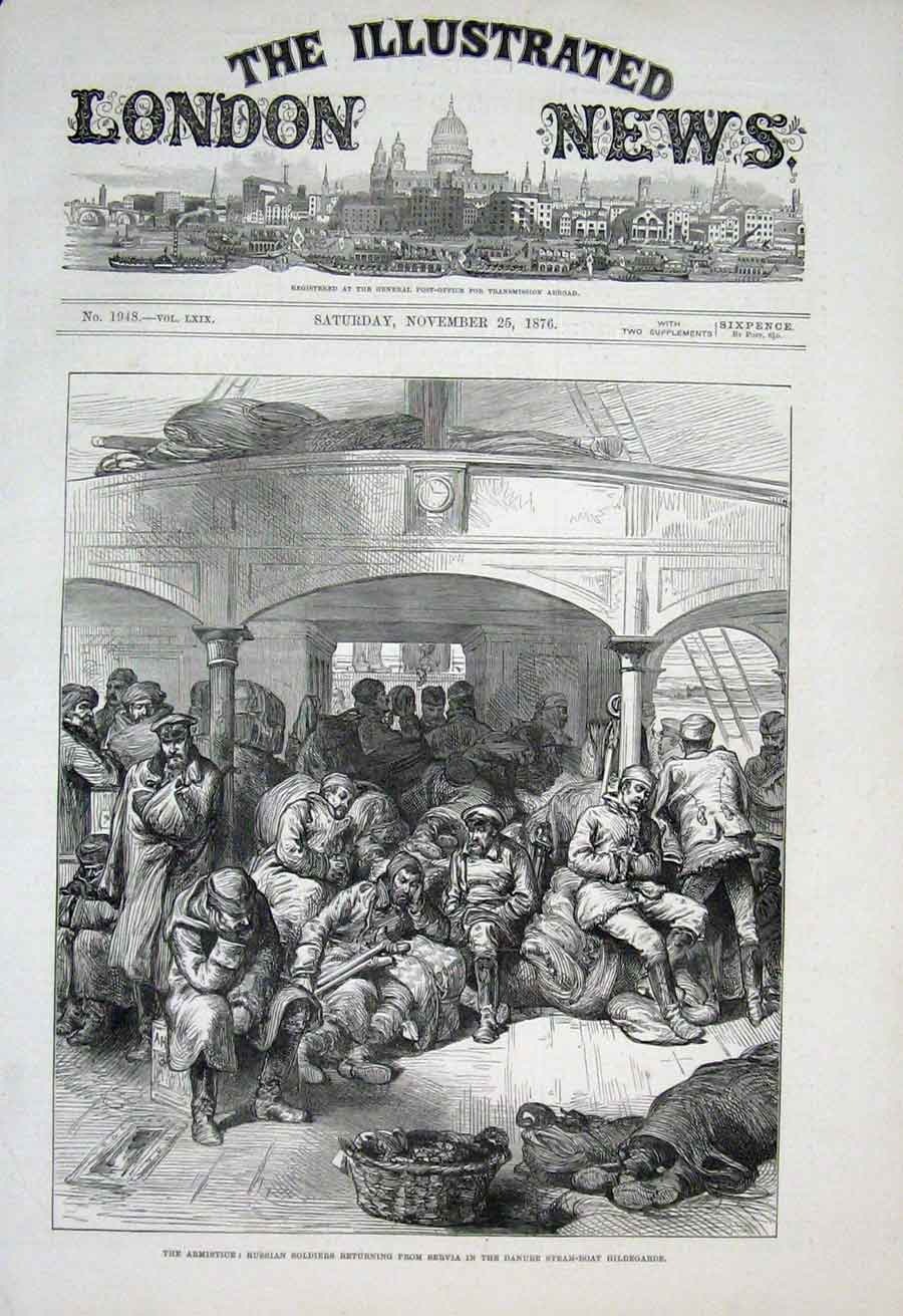 Print Russian Soldiers On Danube Steam Boat Hildegarde 1876 98Aaa1 Old Original