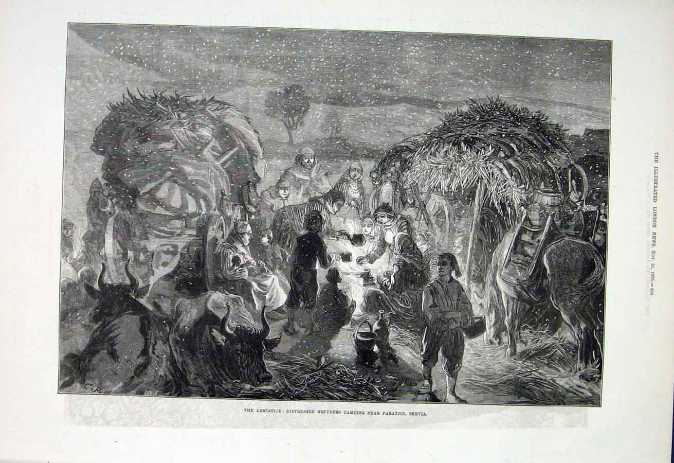 Print Thw Armistice Refugees Camp Paratjin Servia 1876 04Aaa1 Old Original