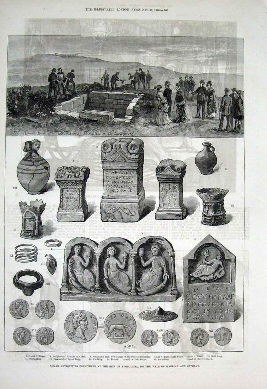 Print Roman Antiquities At Site Procolitia 1876 08Aaa1 Old Original