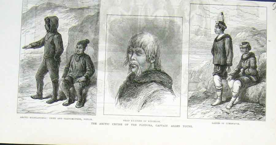 Print Capt Allen Young Artic Cruise Ship Pandora 1876 09Laaa1 Old Original