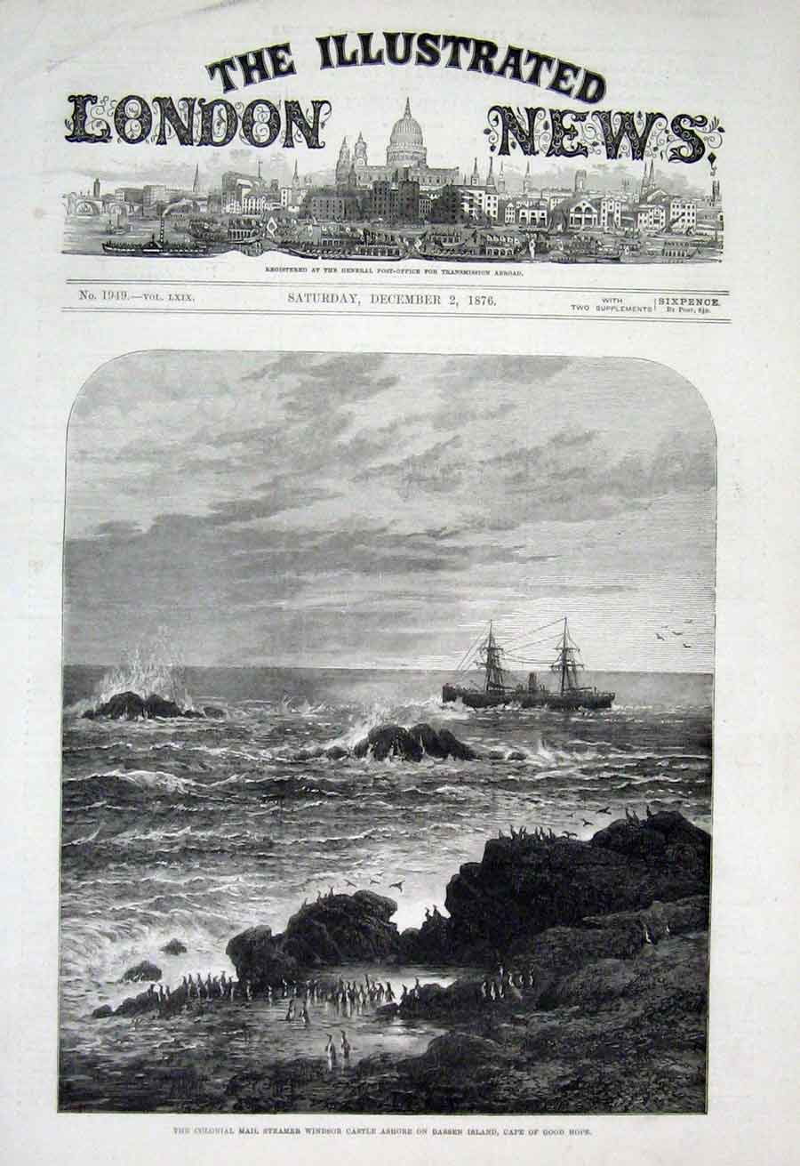 Print Mail Ship Windsor Castle Ashore Dassen Island Cape 1876 22Aaa1 Old Original