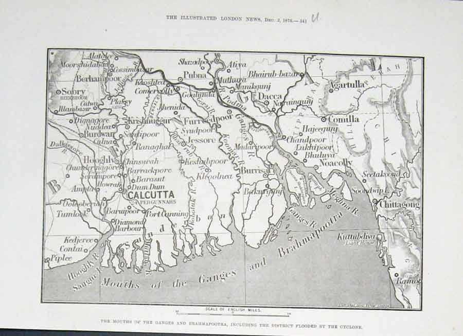 Print Mouth Ganges& Brahmapootra Flooded By Cyclone 1876 Indi 41Uaaa1 Old Original