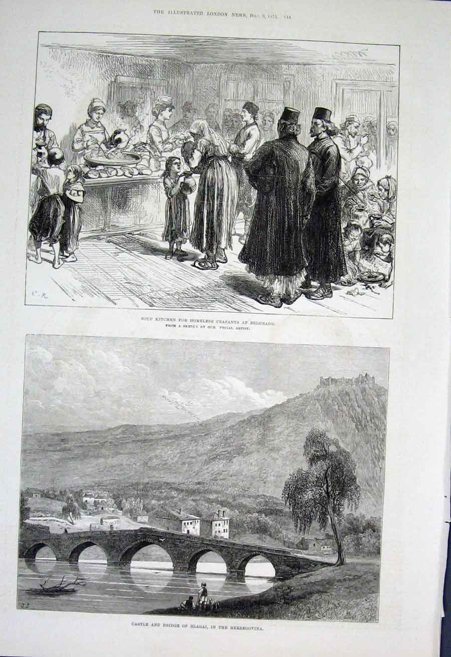 Print Soup Kitchen Belgrade Blagai Herzegovania 1876 48Aaa1 Old Original