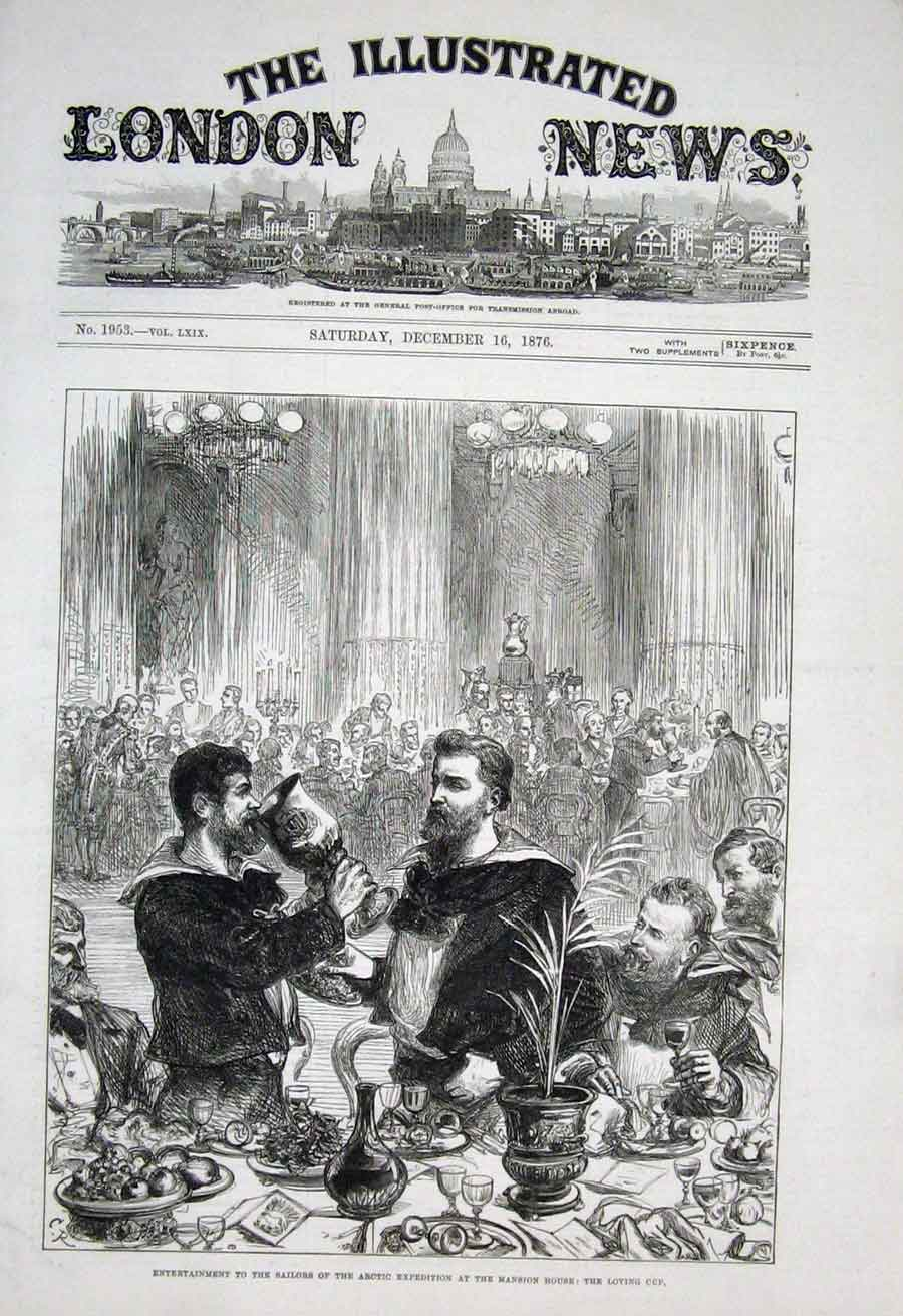 Print The Loving Cup For Artic Sailors At Mansion House 1876 70Aaa1 Old Original