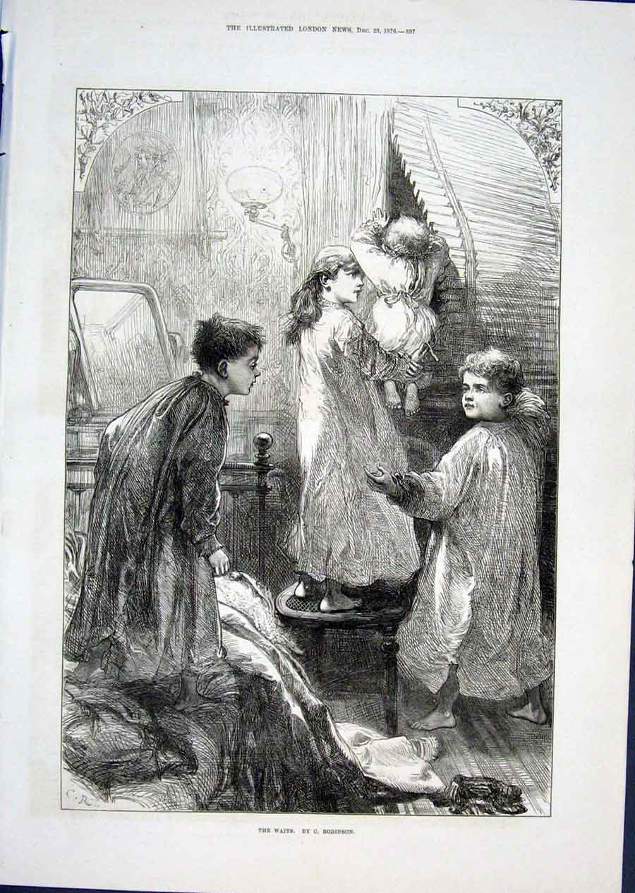 Print The Waits By Robinson 1876 Fine Art 97Aaa1 Old Original