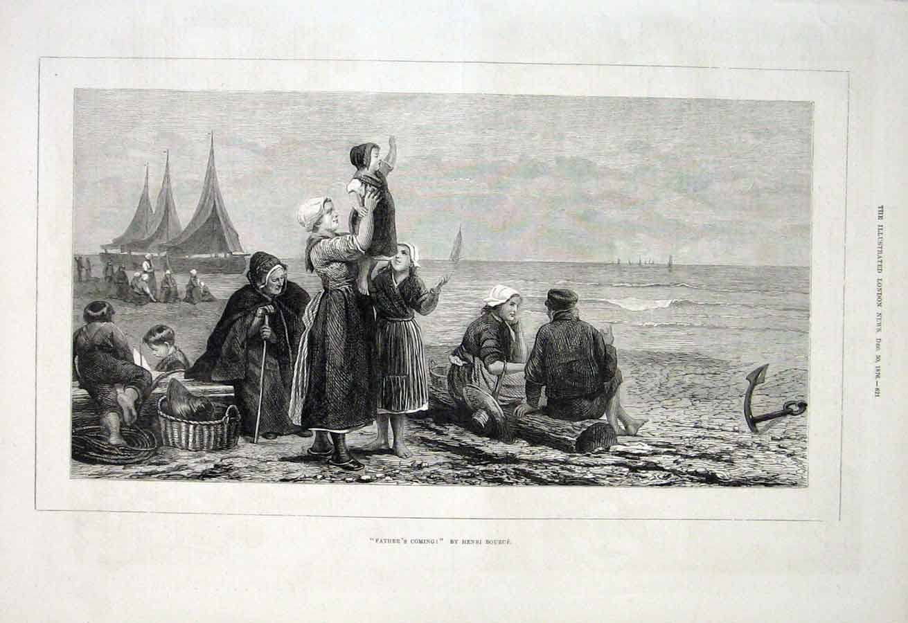 Print Father'S Coming By H Bource 1876 Fine Art 21Aaa1 Old Original