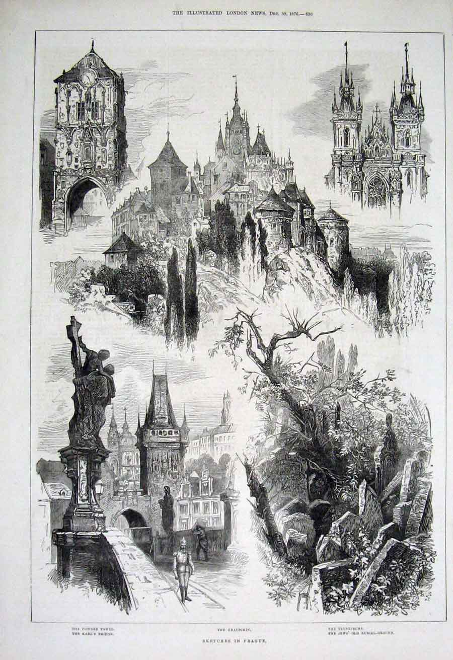 Print Sketches Prague Poland 1876 36Aaa1 Old Original