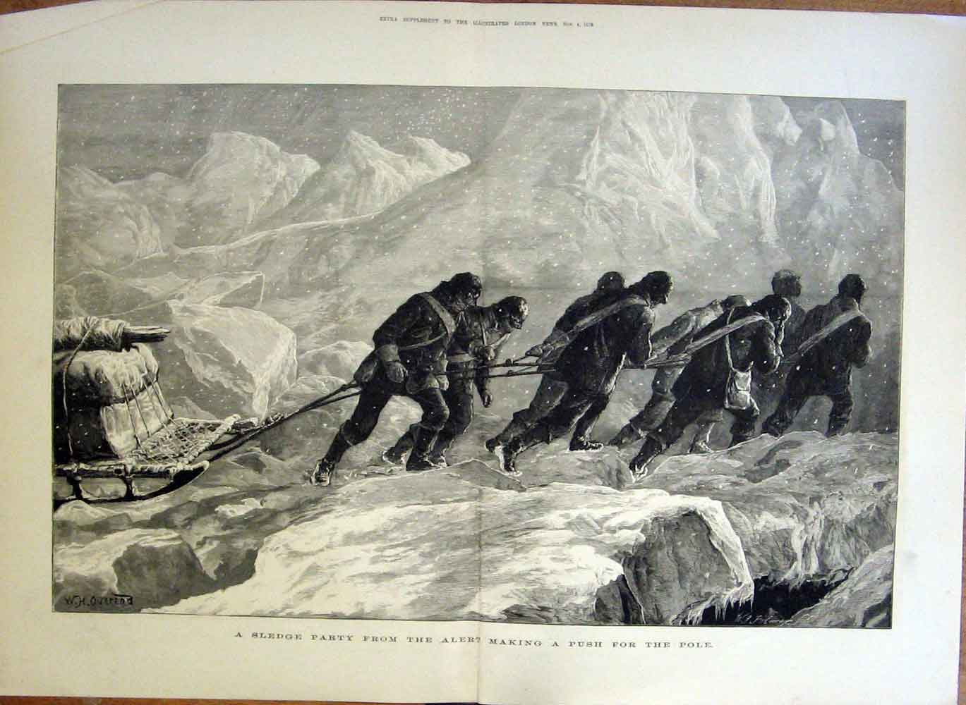 Print Making A Push For North Pole 1876 Expedit 15Taaa1 Old Original