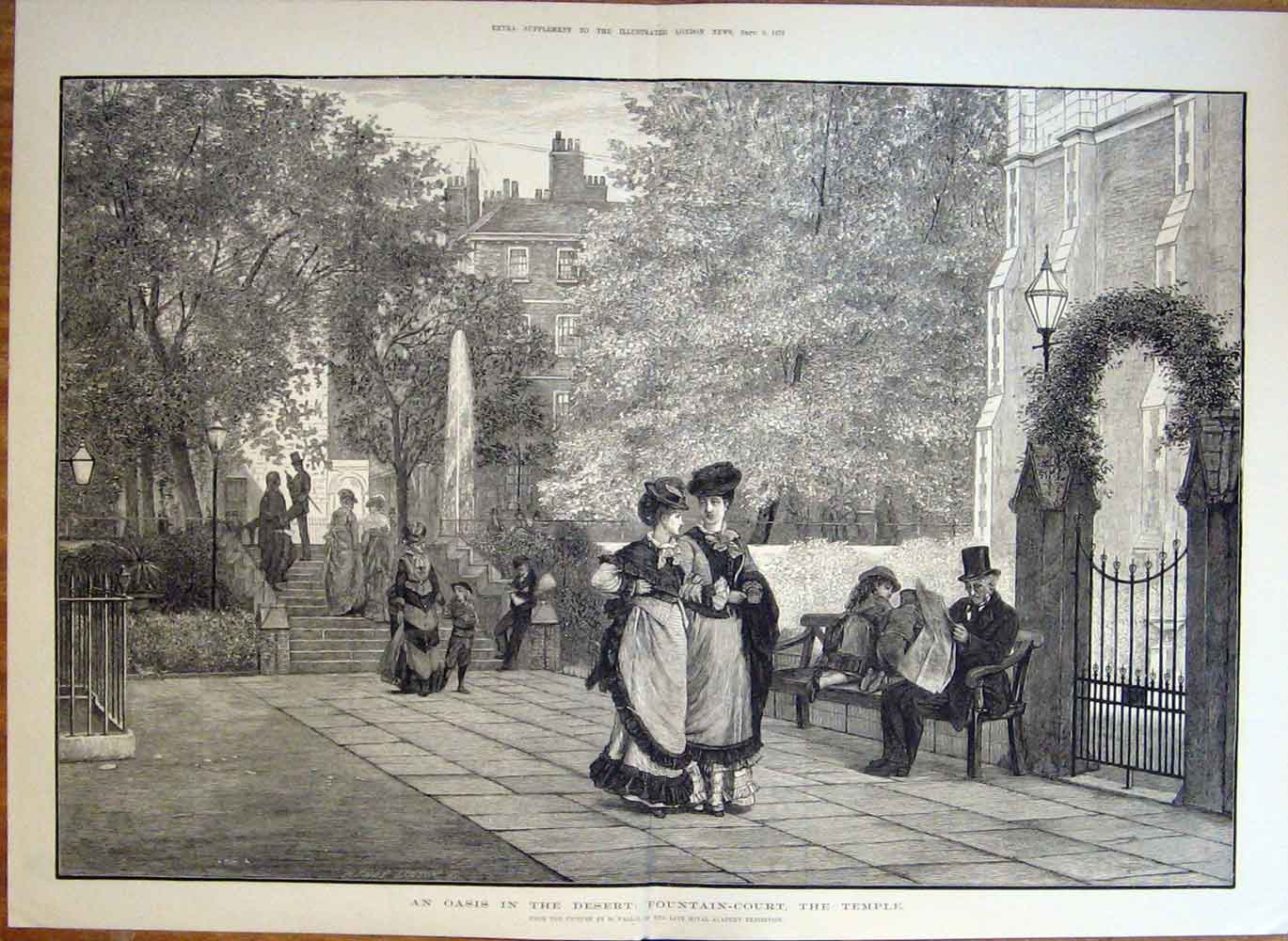 Print Oasis In Desert: Fountain Court The Temple London 1876 22Taaa1 Old Original