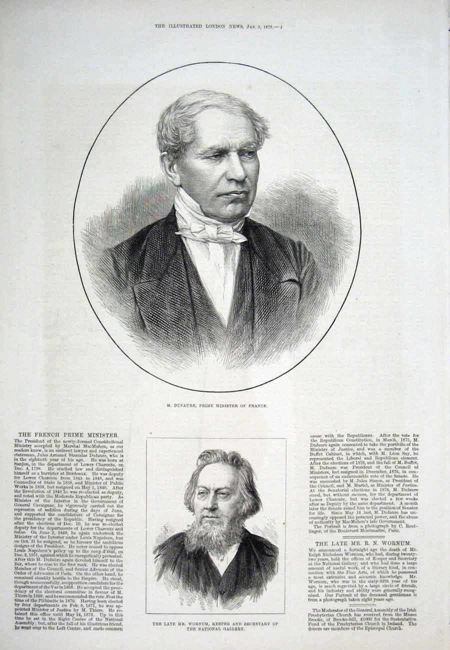 Print Portrait Dufaure France Wornum 1878 04Aaa1 Old Original