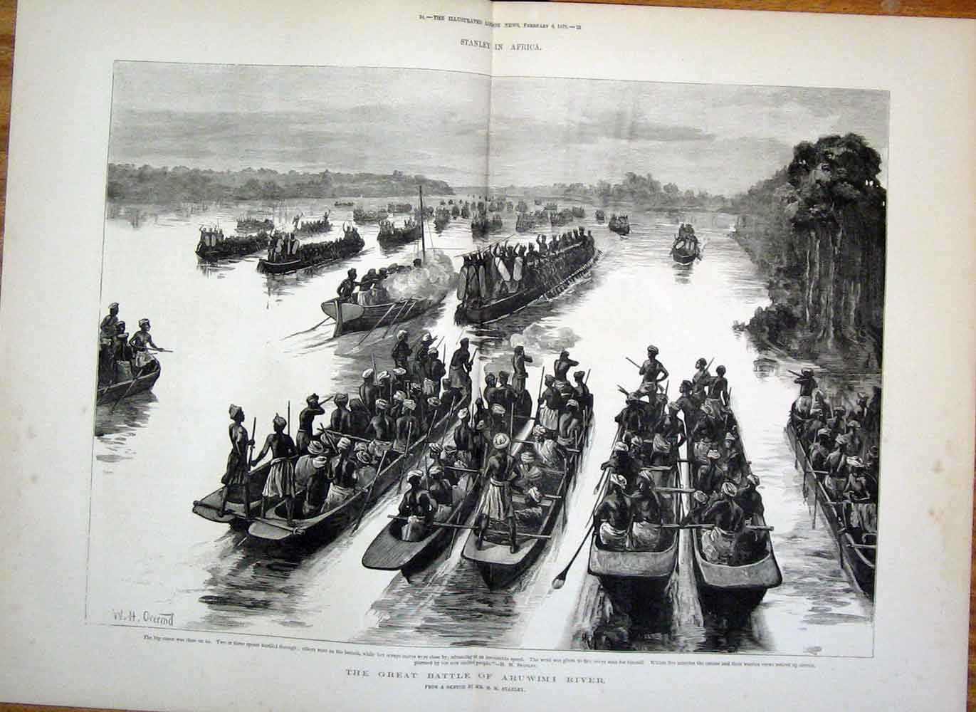 Print Aruwimi River Battle Stanley Africa 1878 23Taaa1 Old Original