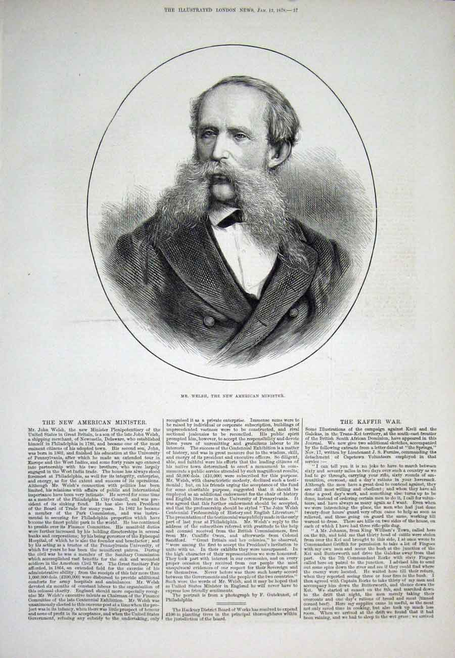 Print Welsh Portrait Newcastle Delaware 1878 37Aaa1 Old Original