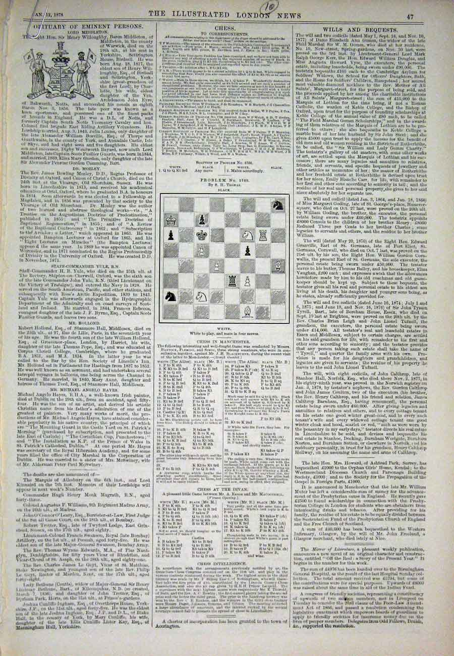 Print Chess Problems And Solutions 1878 47Aaa1 Old Original
