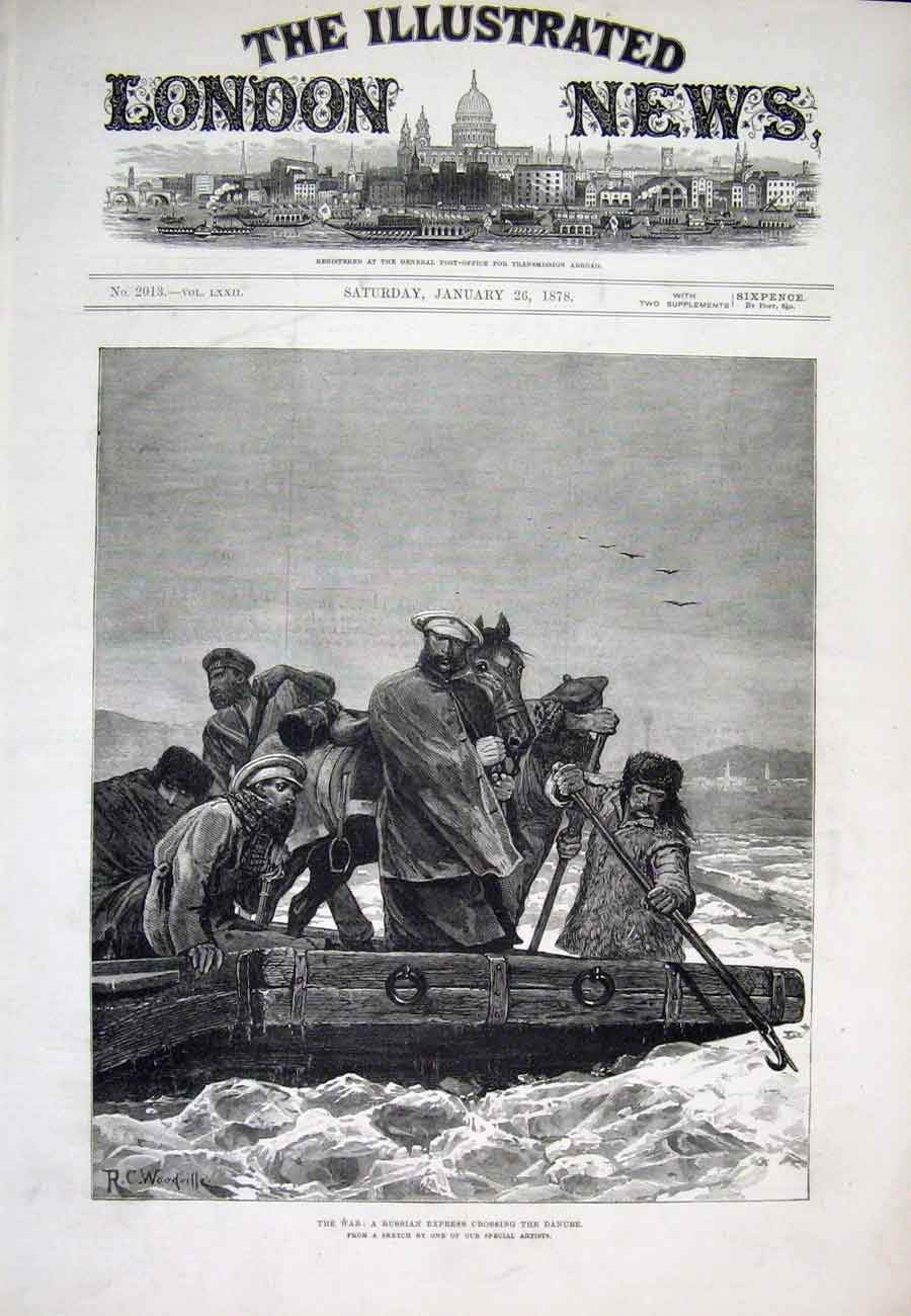 Print Danube Russian War Ferry Horse River Woodville 1878 74Aaa1 Old Original
