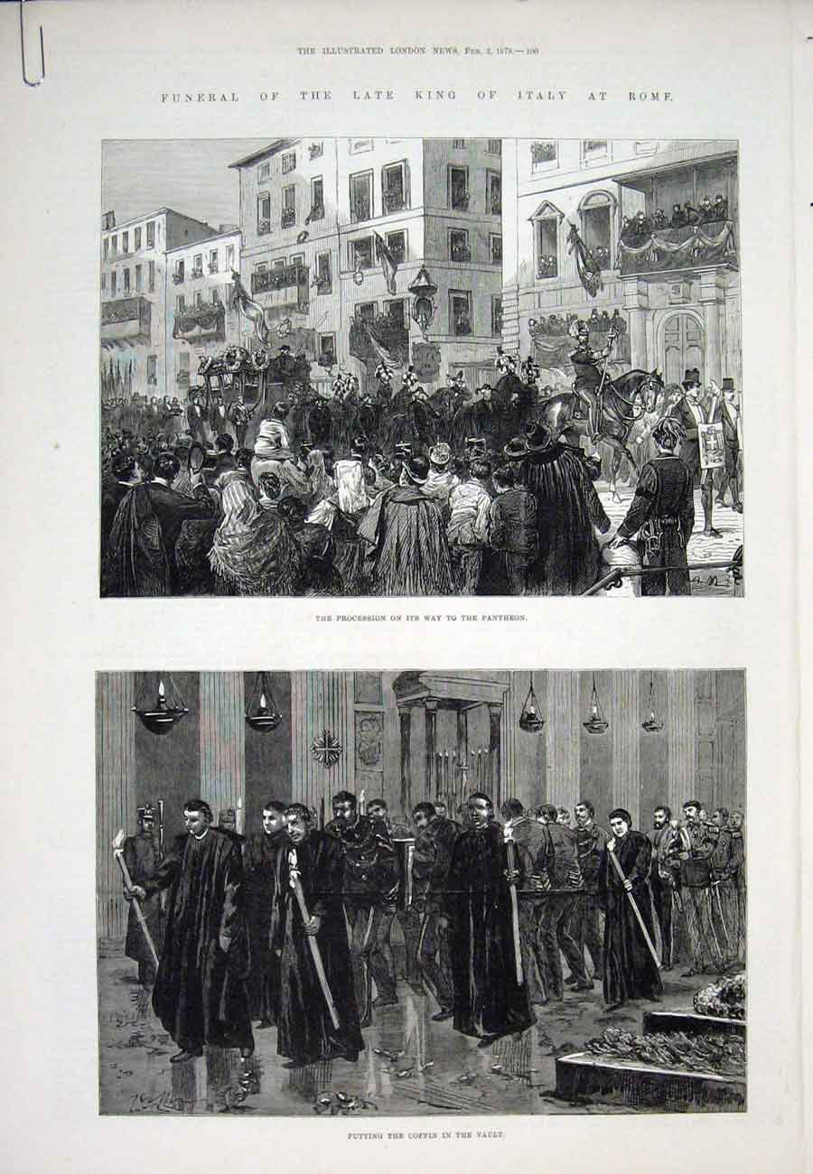 Print Italy Rome King Funeral Piazza Di Spagna 1878 00Aaaa1 Old Original
