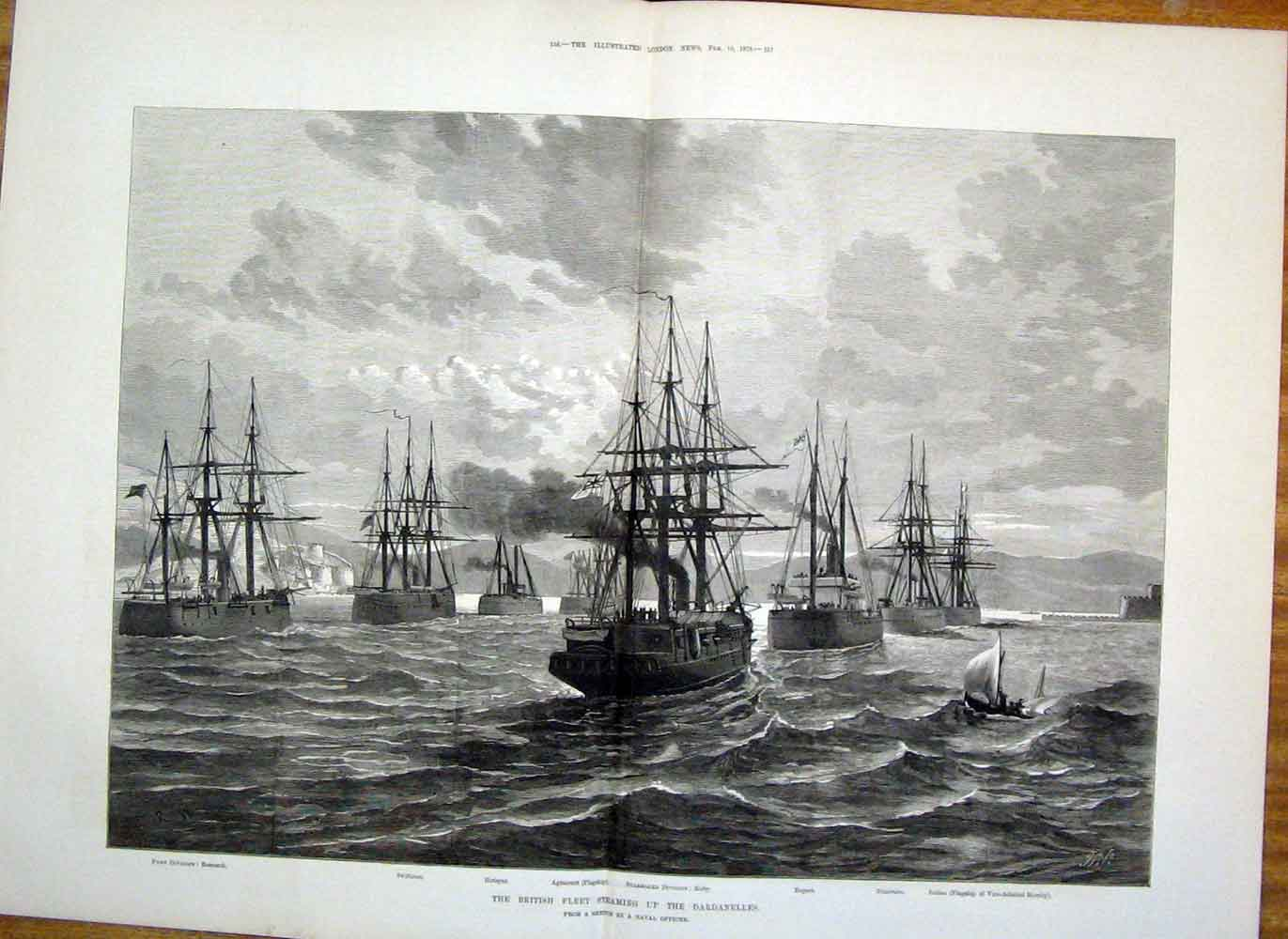 Print Dardanelles British Fleet Ship Agincourt 1878 55Taaa1 Old Original