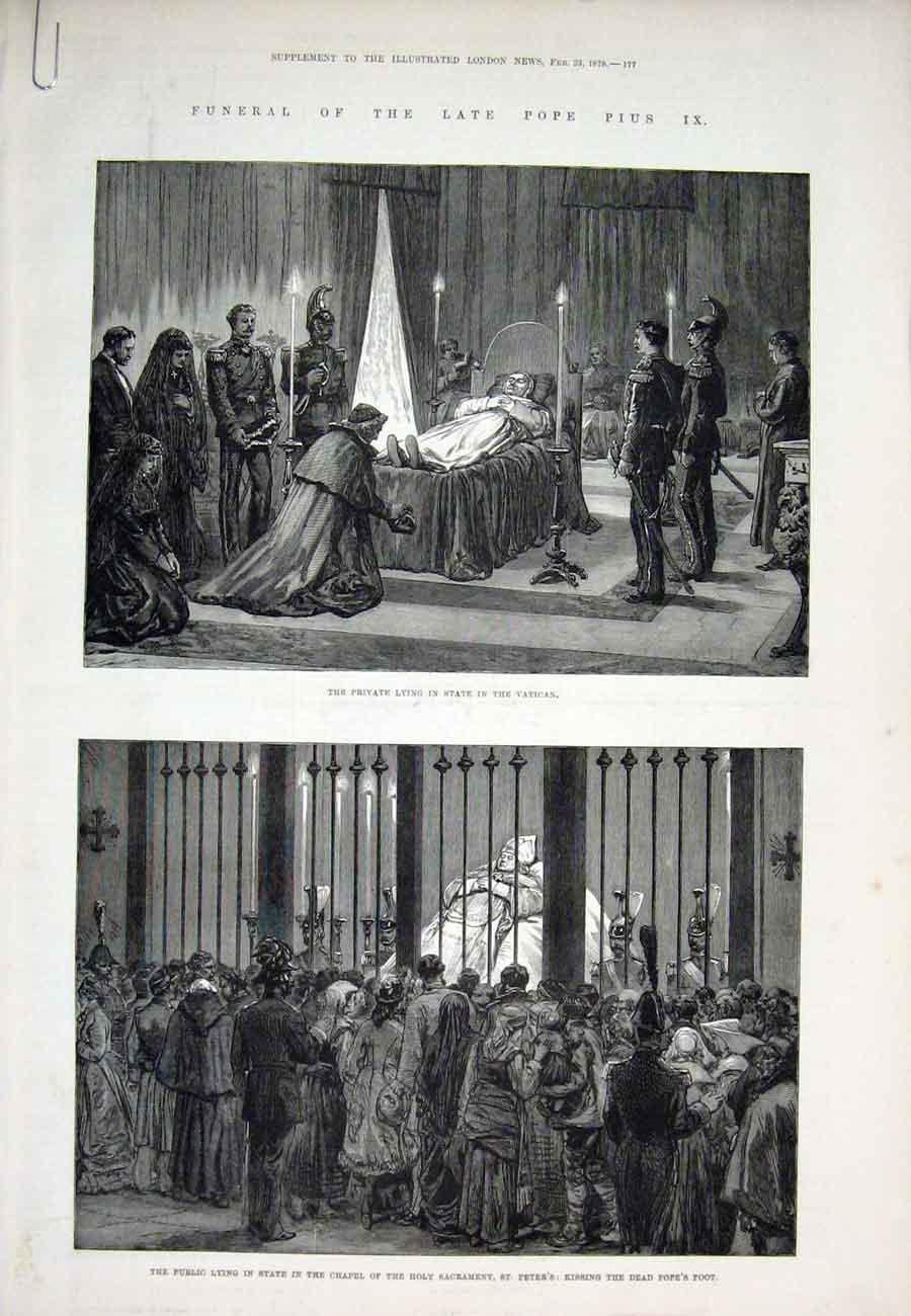 Print Vatican Rome Italy Pope Sarcophagus St Peters 1878 77Aaaa1 Old Original