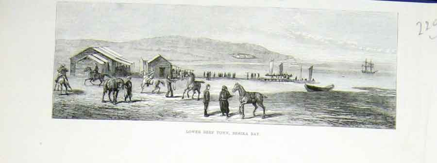 Print Beef Town Besika Bay Horse Ship 1878 20Laaa1 Old Original