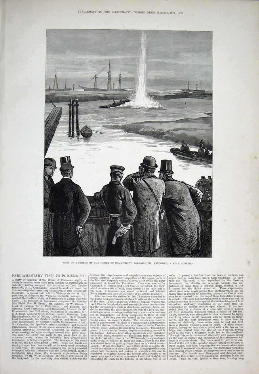Print Portsmouth Commons Spar Torpedo 1878 25Aaa1 Old Original