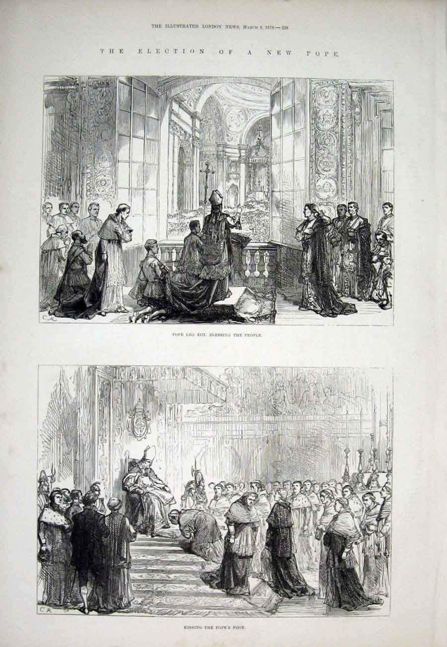 Print Pope Leo Xiii Election Rome Vatican 1878 28Aaa1 Old Original